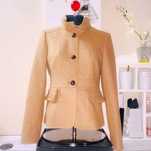J. Crew Tan Wool Button Down Blazer/Jacket